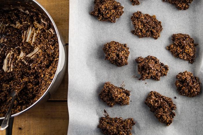 Drop Cookies Onto Parchment Paper