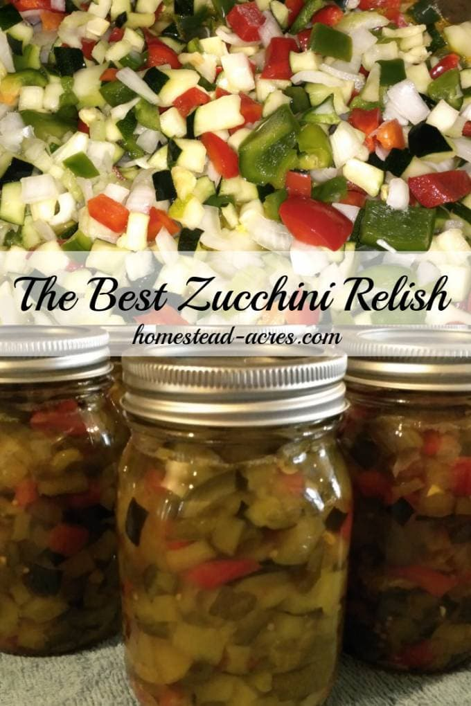 My Aunts Zucchini Relish is the BEST really! Everyone who's tried this relish just loves it. I've been making it for over 20 years and my Aunt for many years before then. This is a family favourite recipe that we enjoy making every summer. A great way to use up extra zucchini to. | www.homestead-acres.com