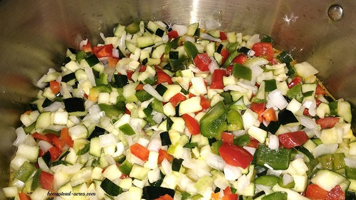 Zucchini Relish mix add to brine