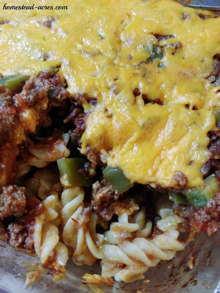 Cooked taco twist casserole | www.homestead-acres.com
