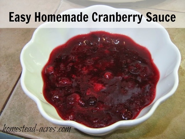 Easy Homemade Cranberry Sauce! Make it to serve fresh or can for later. | www.homestead-acres.com