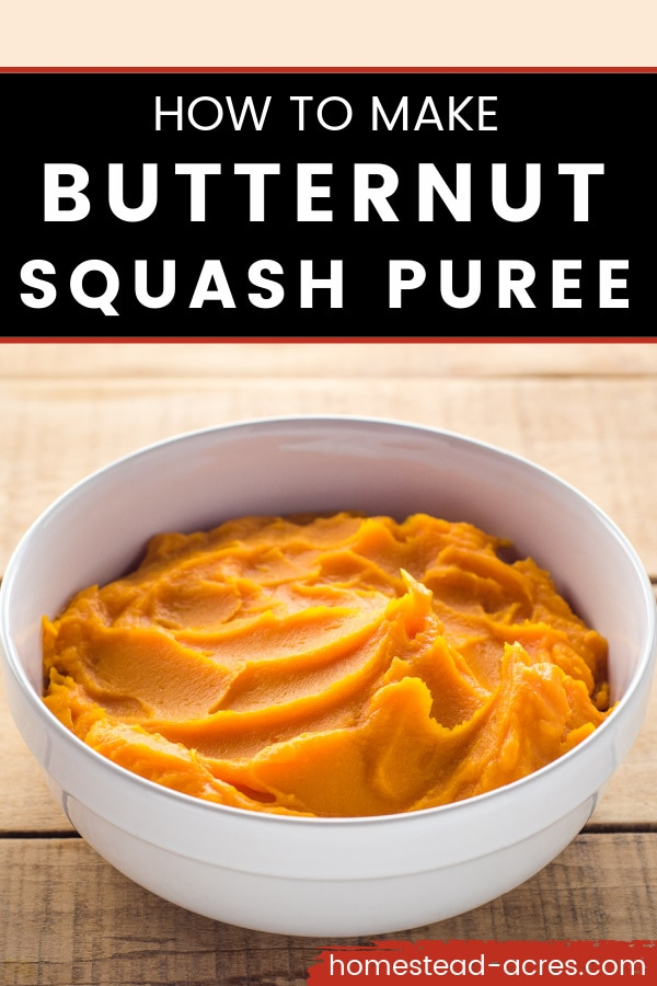 White bowl of butternut squash puree on a table. Text overlay says How To Make Butternut Squash Puree.