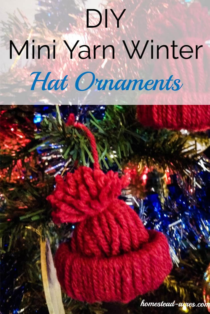 Diy Mini Yarn Winter Hat Ornaments. Easy, cute little yarn hat ornaments. These are a fun project for kids to make at Christmas. | www.homestead-acres.com