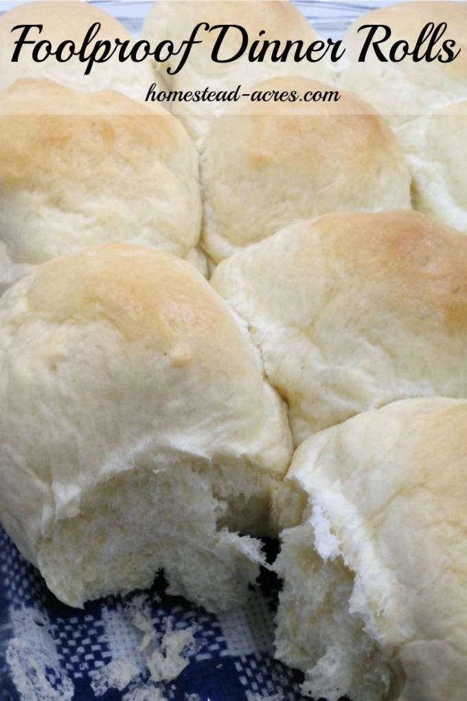 These quick and east dinner rolls are simply amazing! Foolproof recipe that can be made in your bread machine or by hand. | www.homestead-acres.com