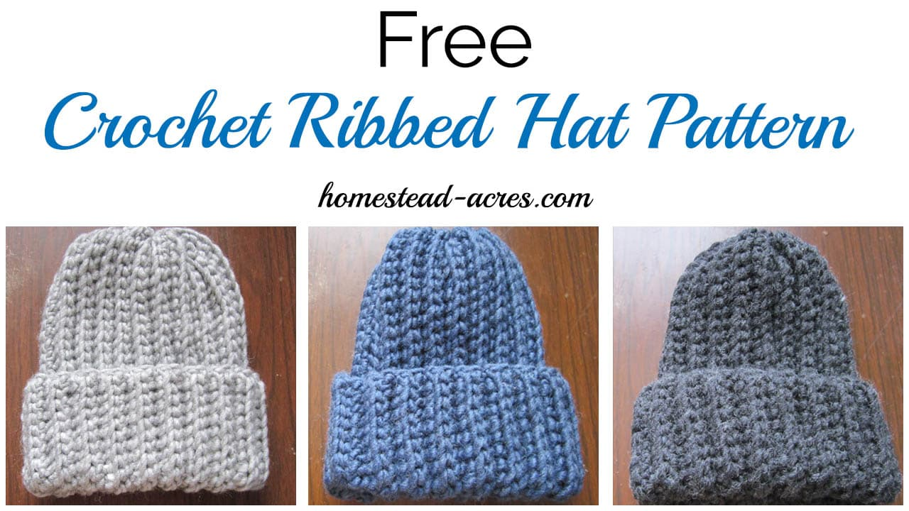 Free Patterns Crochet For Hats : Crochet Ribbed Hat Pattern - Homestead Acres