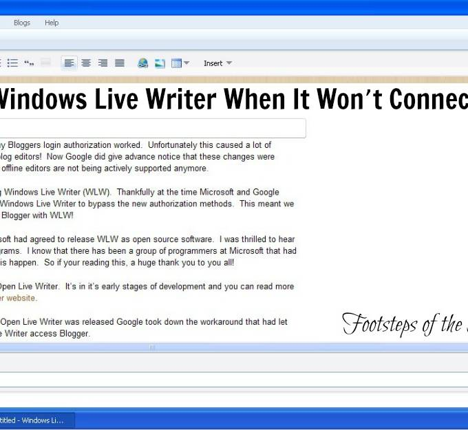 How To Use Windows Live Writer To Make Your Blogger Posts When It Won't Connect