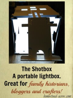 The Shotbox is a portable light box for photography. It's so easy to use and takes up little space. This is great for bloggers, crafters, online sellers and family historians! | www.homestead-acres.com