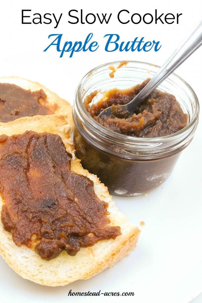This slow cooker apple butter recipe is just so easy to make! Delicious with bread, muffins, pancakes and a wonderful gift to share! | www.homestead-acres.com