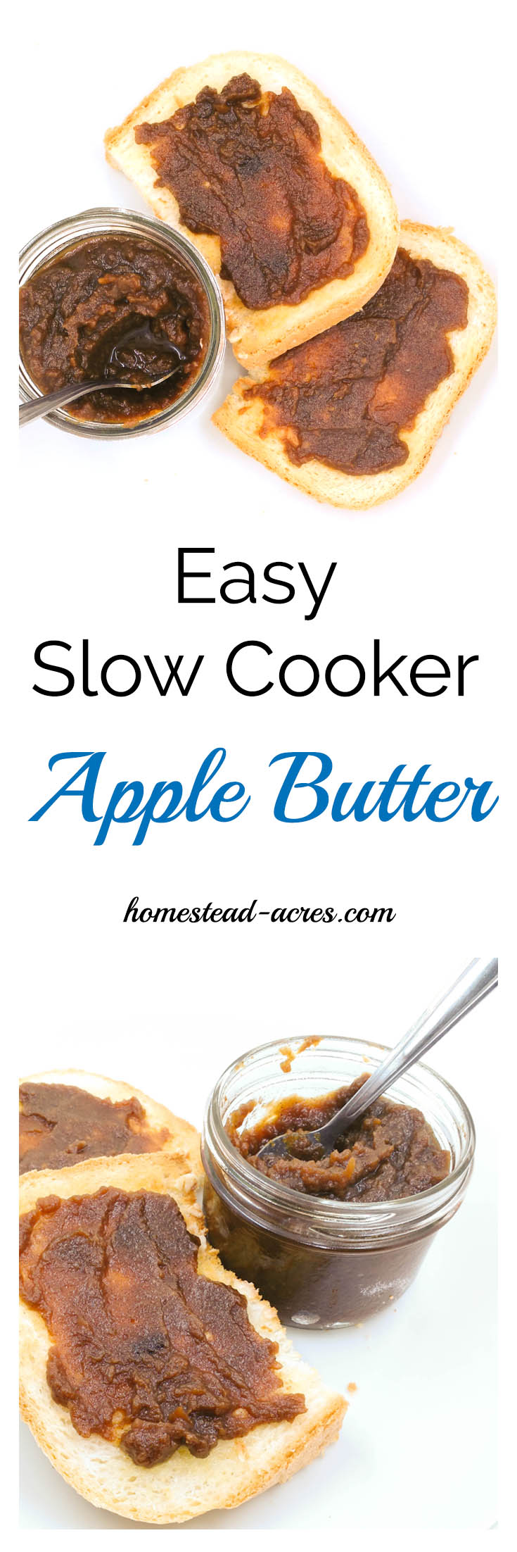 Easy Slow Cooker Apple Butter With Step by Step Canning And Freezing Directions This slow cooker apple butter recipe is just so easy to make! Delicious with bread, muffins, pancakes and a wonderful gift to share! | www.homestead-acres.com