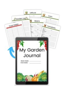 Sample pages and forms from a printable garden journal. My Garden Journal cover shown on a tablet with sample pages printed next to it.