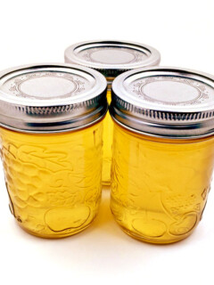 Dandelion jelly is simply amazing! It tastes just like honey with a hint of lemon. We just love this on toast, biscuits and even as a sweetener for herbal teas!