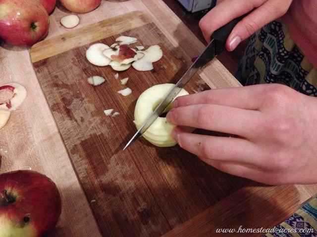 Cutting Apples In Half
