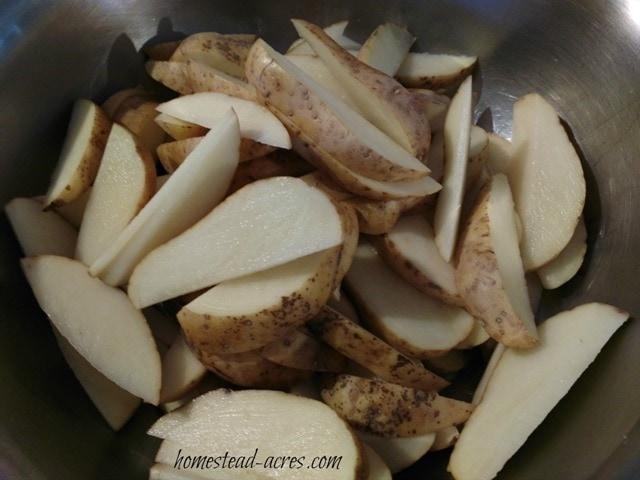 Sliced Potato Wedges   www.homestead-acres.com