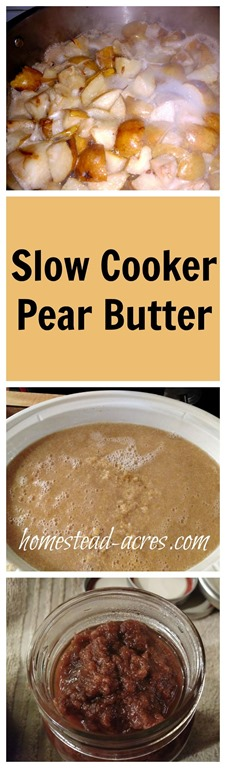 How to make pear butter the easy way in your slow cooker. Pear butter tastes amazing and makes a wonderful gift. | www.homestead-acres.com