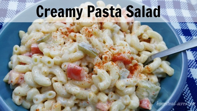 Creamy Pasta Salad Recipe   www.homestead-acres.com This is my families favourite pasta salad! It is so easy to make up a head of time or at the last minute. A great addition to your BBQ or potluck. Need a full meal? Just add some diced chicken breast, perfect for a cold supper on a hot summer night.
