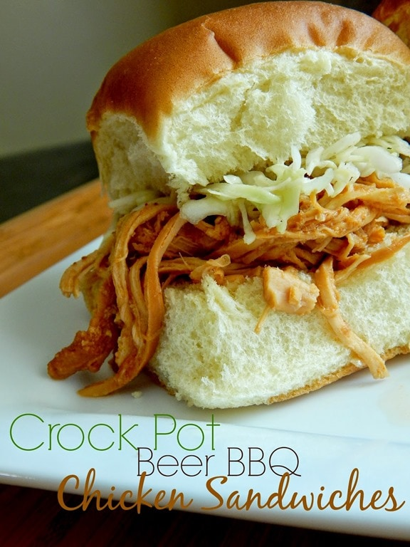 crock pot beer bbq chicken sandwiches-Sweet-And-Savory-Food