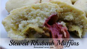Stewed Rhubarb Muffins