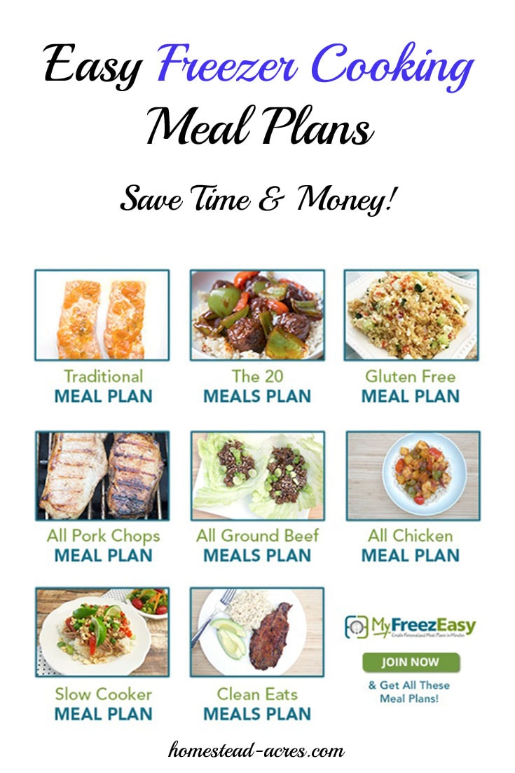 Easy freezer cooking meal plans to help save you money and time in the kitchen. Take advantage of grocery sales and with a little time put together meals for your family for a week or month. No more worrying about what's for dinner! | www.homestead-acres.com