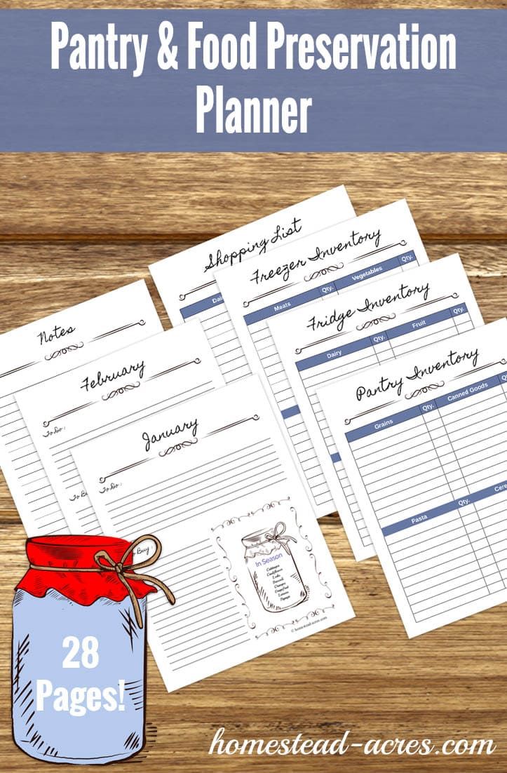Keep track of your pantry inventory, canning and other food preserving easily with this Pantry & Food Preservation Planner. | www.homestead-acres.com