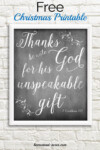 Free Christmas Chalkboard Printable Thanks Be Unto God For His Unspeakable Gift
