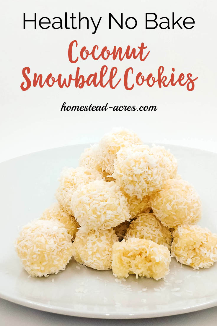 Coconut snowball cookies on a serving white serving tray with overlaid text Healthy No Bake Coconut Snowball Cookies.