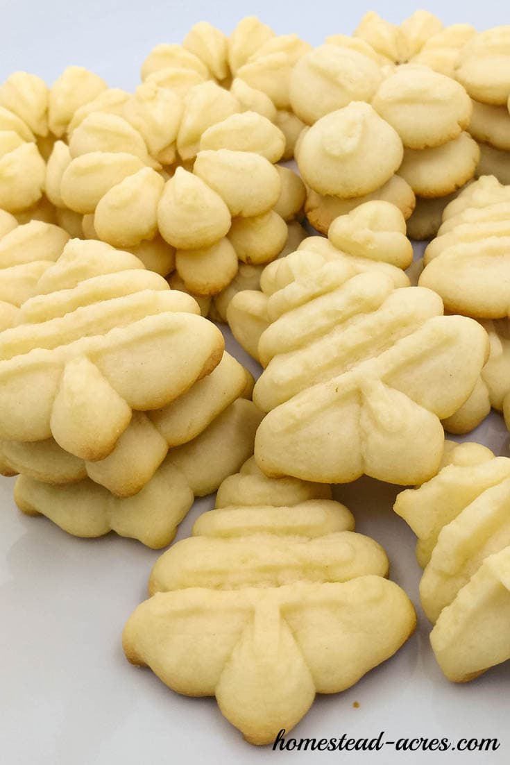 Spritz cookie press recipe | www.homestead-acres.com
