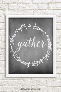"Farmhouse style printable ""Gather"" bonus for Back to Basics Living bundle sale. | www.homestead-acres.com"
