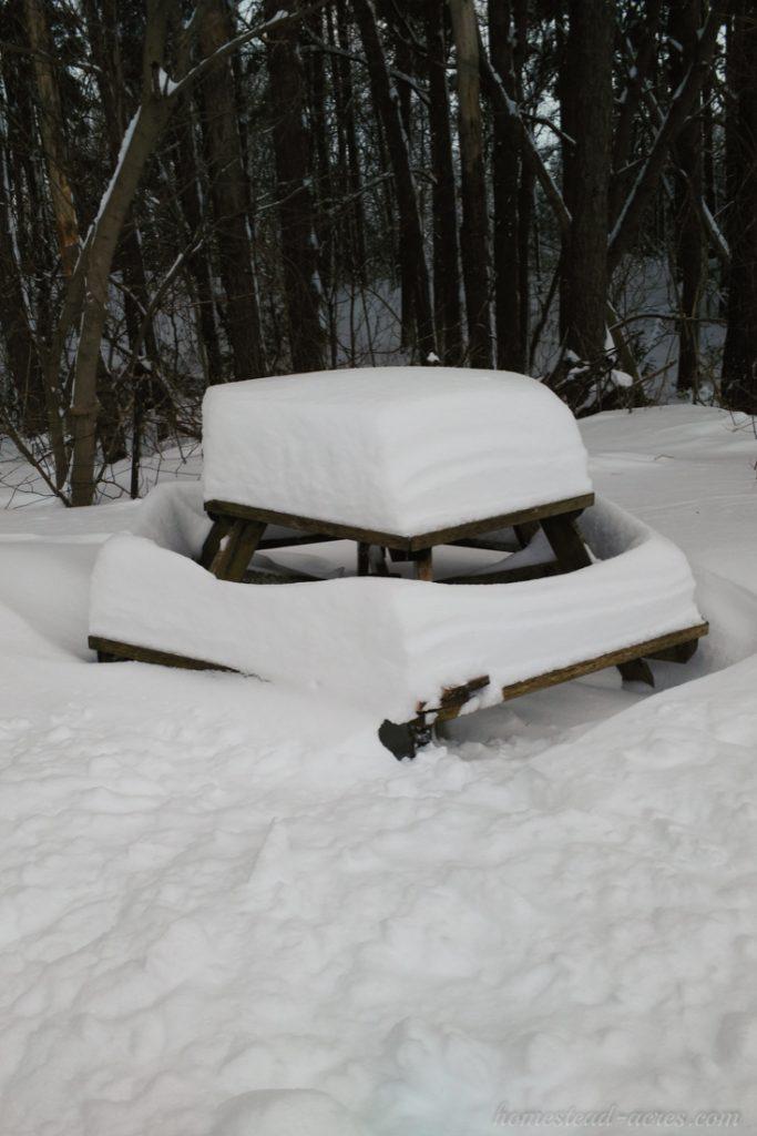 Snow piled high on the table | www.homestead-acres.com