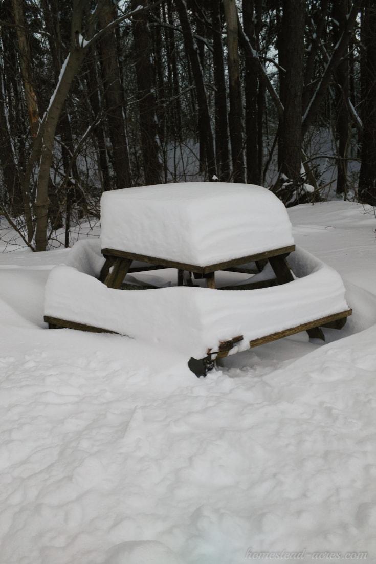 Snow piled high on the table   www.homestead-acres.com