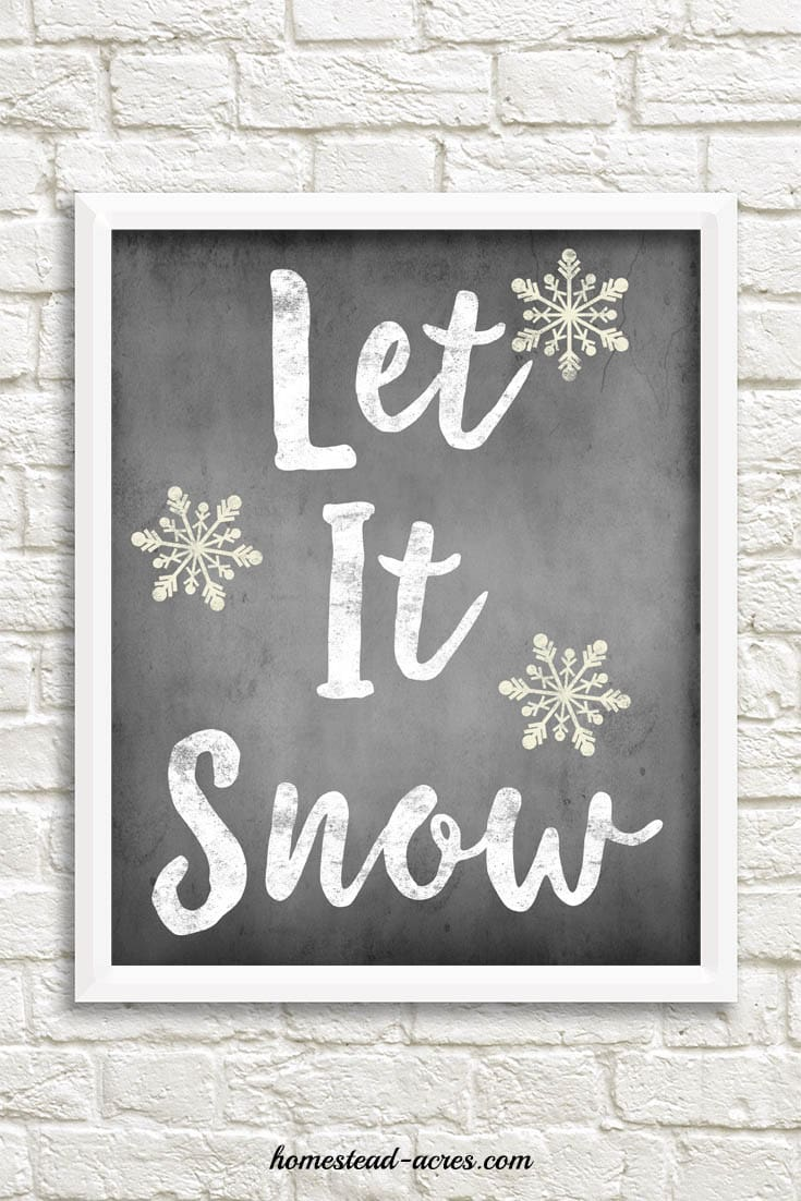 Let It Snow Chalkboard Printable, Christmas or winter digital art. | www.homestead-acres.com