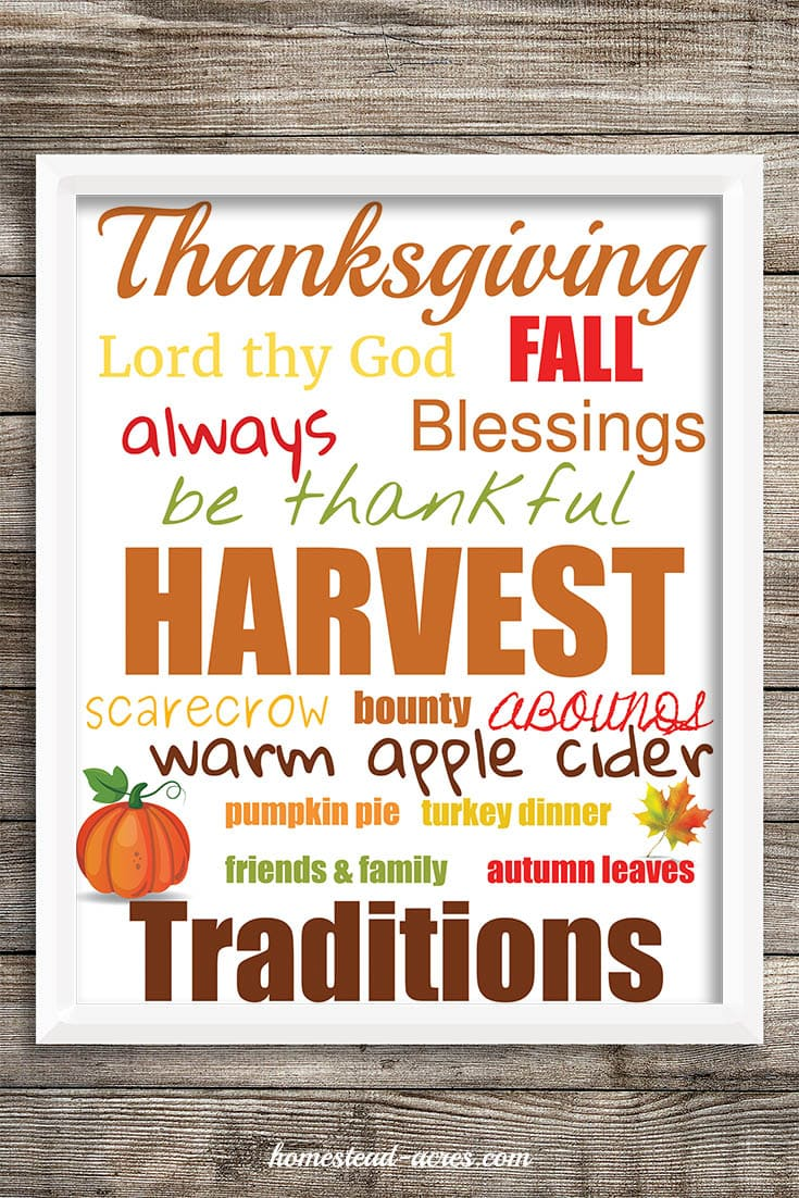 Thanksgiving Word Art, subway art printable. | www.homestead-acres.com