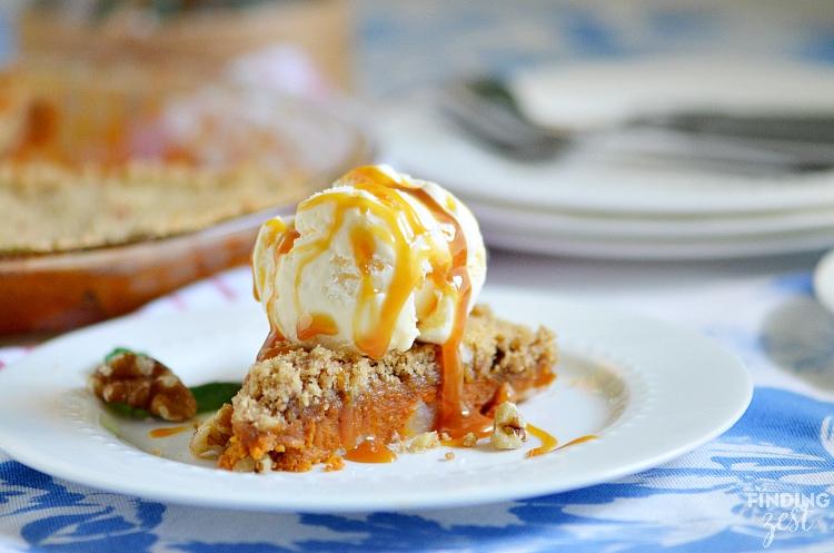 Caramel Apple Pumpkin Pie with Ice Cream
