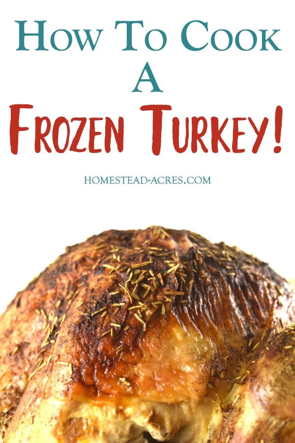 How To Cook A Turkey From Frozen text overlaid on a photo of a roasted turkey.