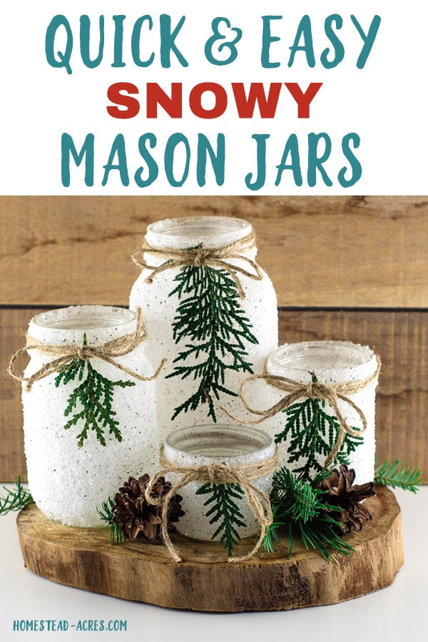 Set of 4 mason jars decorated with greenery and twine on a wooden slab. Overlaid text reads Quick and Easy Snowy Mason Jars.