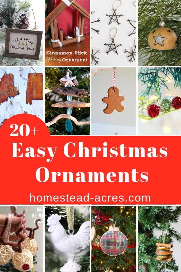 Collage photo of handmade Christmas ornaments. Overlaid text says 20+ Easy Christmas Ornaments.