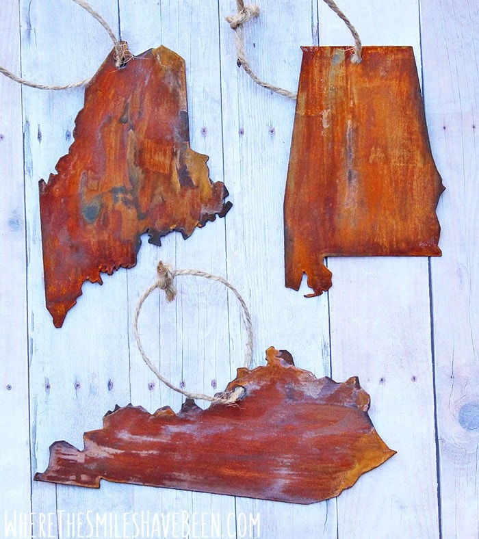 Faux Rusted Metal State Ornaments