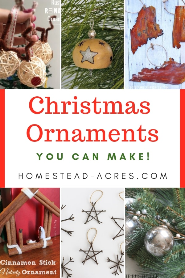 Collage image of homemade Christmas ornaments with overlaid text Christmas Ornaments You Can Make.