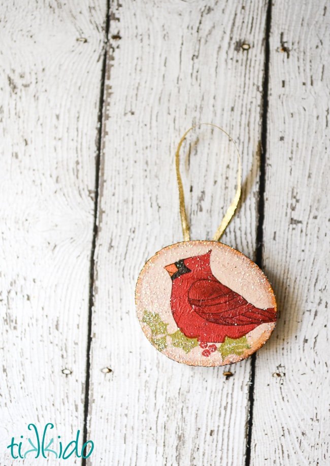 Rustic Wood Decoupage Christmas Ornament