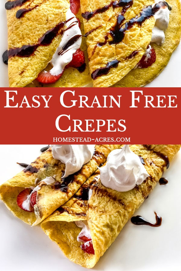 Easy grain free crepe recipe and ideas for breakfast and lunch.