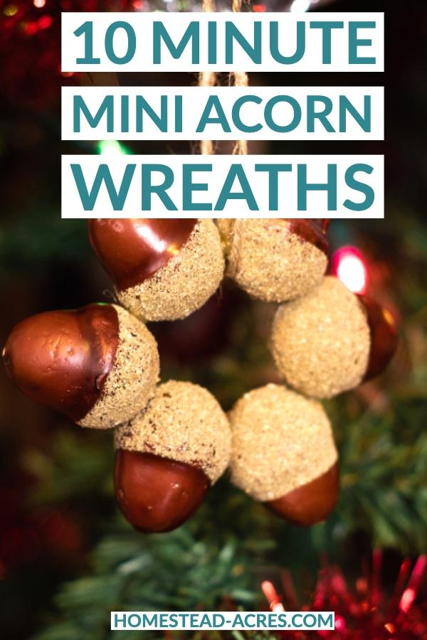 10 minute mini acorn wreaths text overlaid on a photo of a acorn wreath on a Christmas tree.