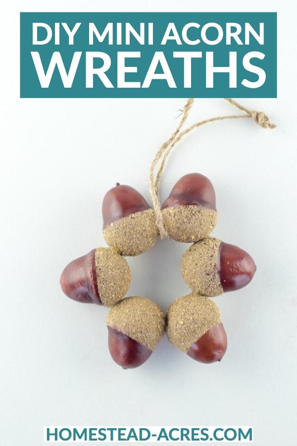 DIY mini acorn wreaths