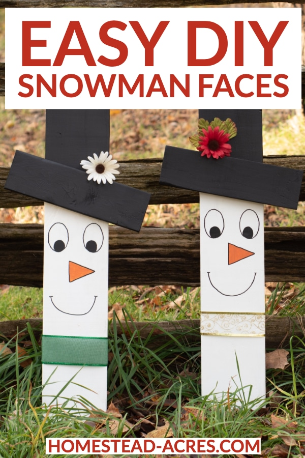 Easy DIY Snowman Faces text overlaid on a photo of two snowman faces made out of wood.