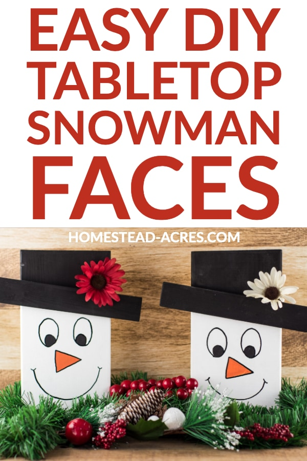 Easy DIY tabletop snowman faces text overlaid on a photo of 2 cute wooden snowmen on a side table with greenery and pinecones around them.