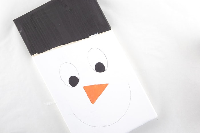 Painted snowman face ready to outline with a paint marker.