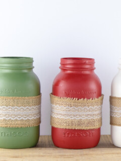 Christmas Painted Mason Jars With Burlap Ribbon