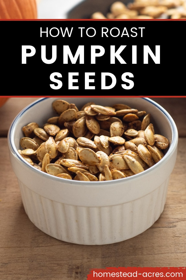 White bowl filled with pumpkin seeds. Text overlay reads How To Roast Pumpkin Seeds.