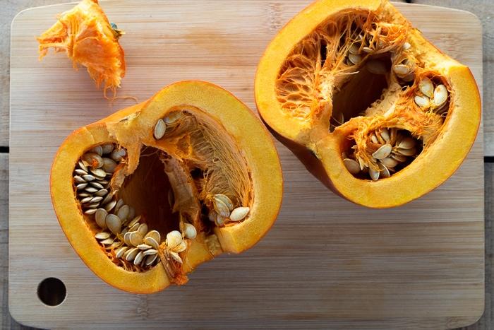 Pie pumpkin cut in half.