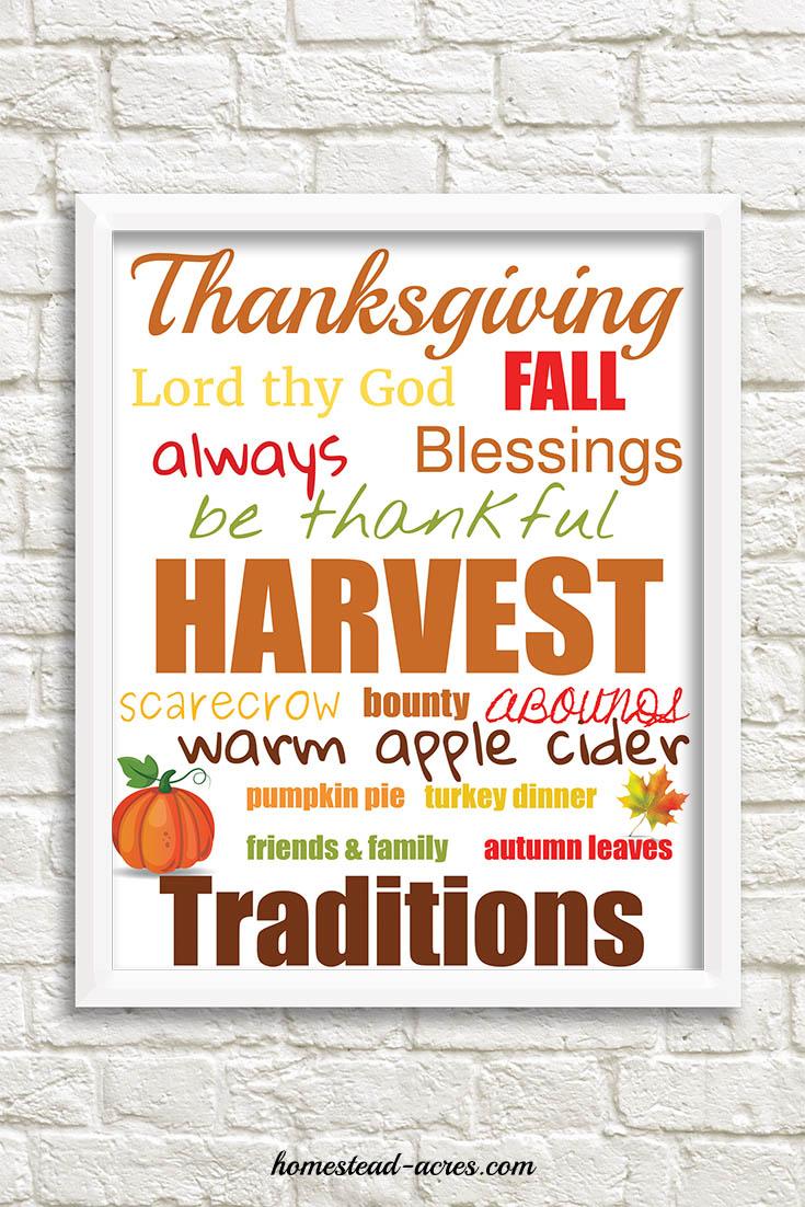 Thanksgiving Printable Word Art