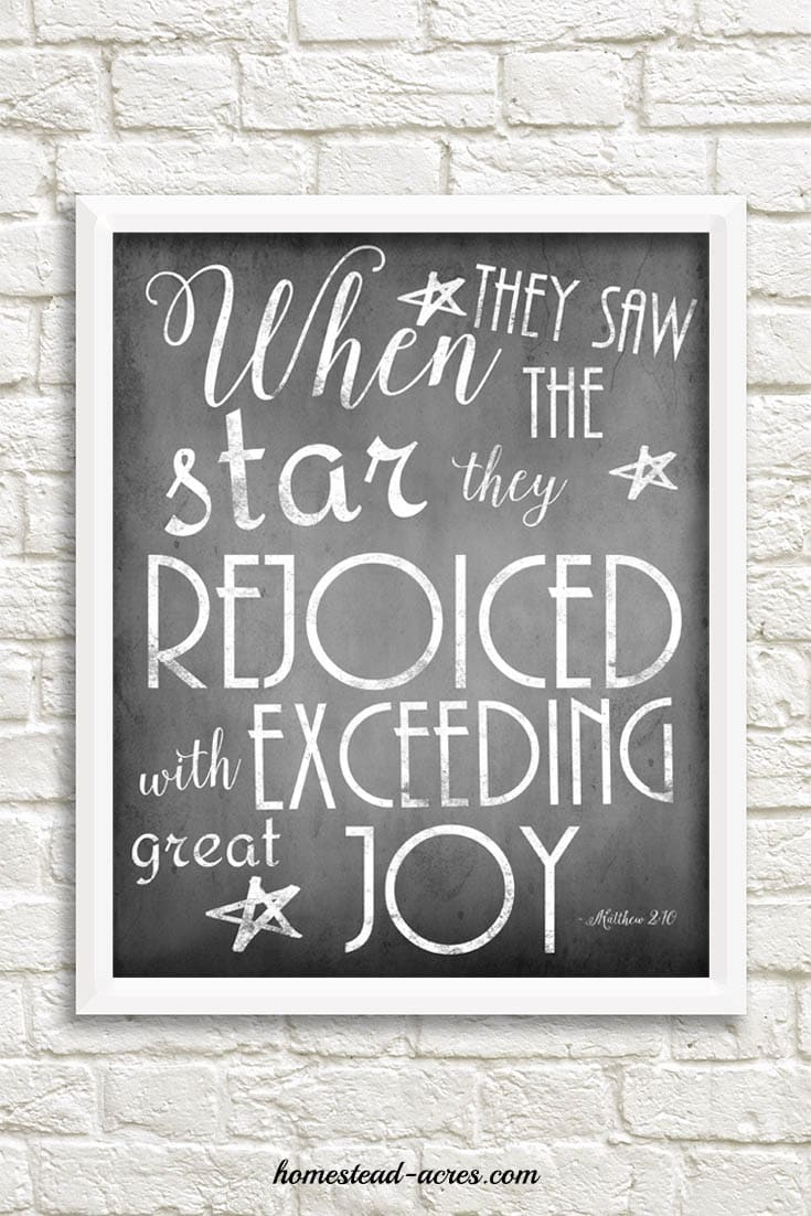 When they saw the star, they rejoiced with exceeding great joy Chalkboard Printable